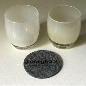 2 White Glassybaby votive holders